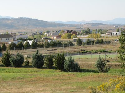Farmland at the base of the foothills