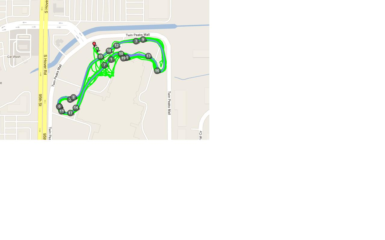 The course was made in the parking lot outline with orange cones.